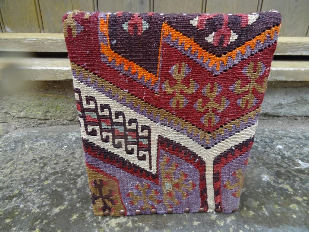 Kilim covered waste paper bin