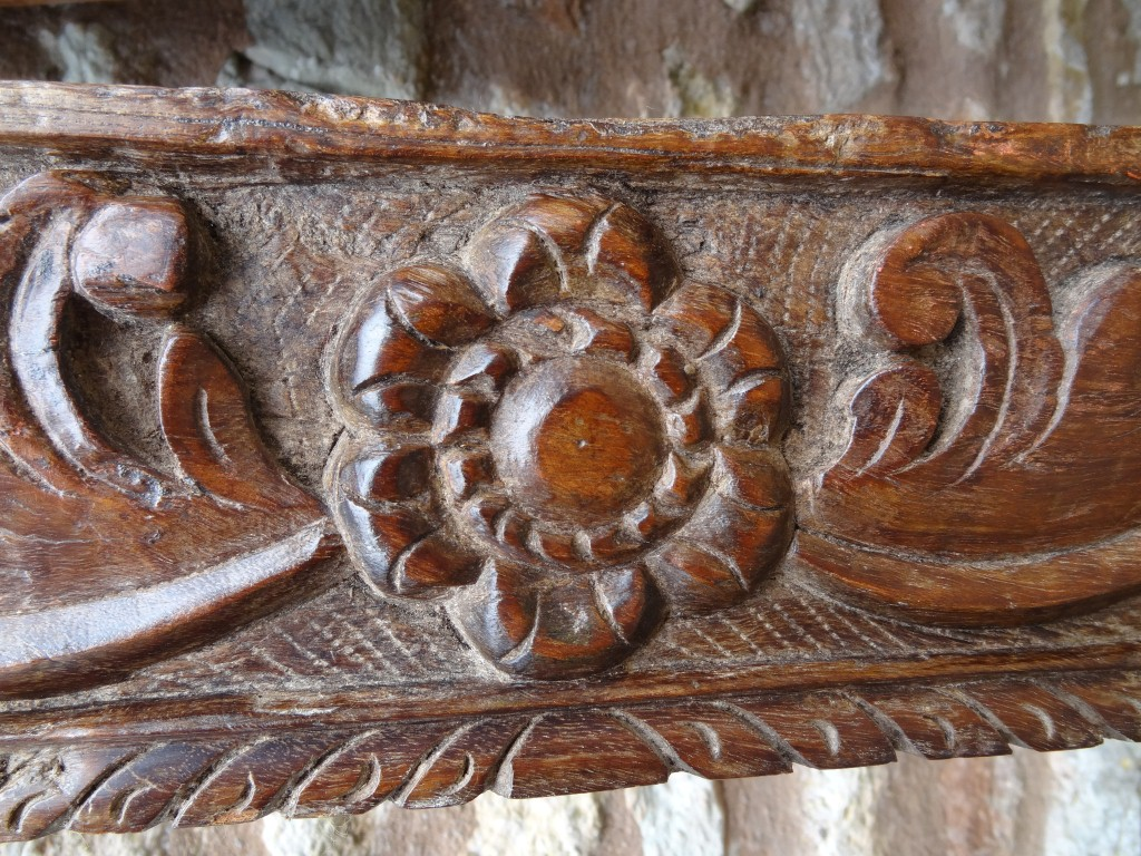 Antique carved wood panel from India