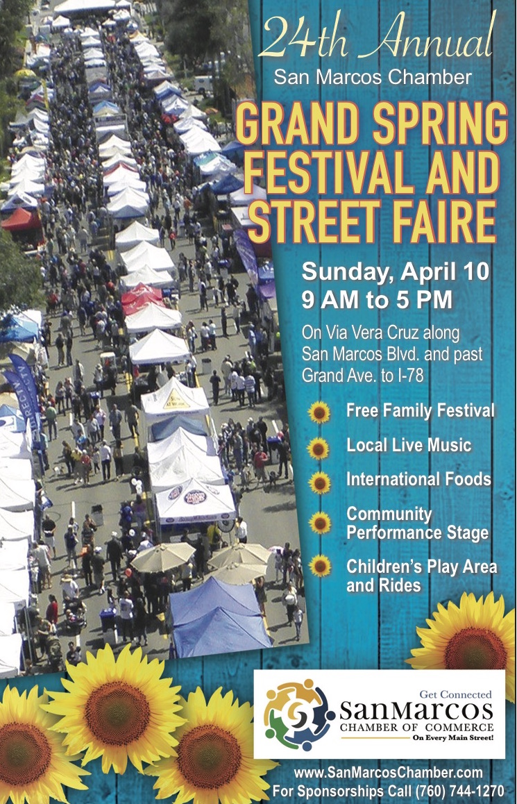 San Marcos Chamber of Commerce Proudly Presents 24th Annual Grand Spring Festival & Street Faire!