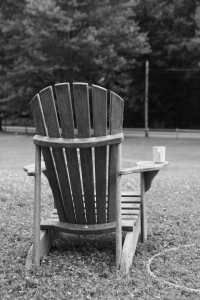 chair with coffee on lawn, work-life balance.