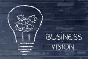 business vision, lightbulb with gearwheels metaphor of success in business/sanespaces.com
