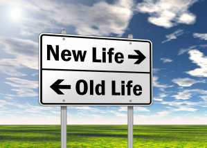 "Traffic Sign ""New Life vs. Old Life"", career transition."