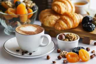coffee with muffins and dried fruit, healthy breakfast.