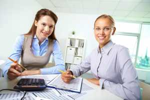 female colleagues accounting in office, business accountant.
