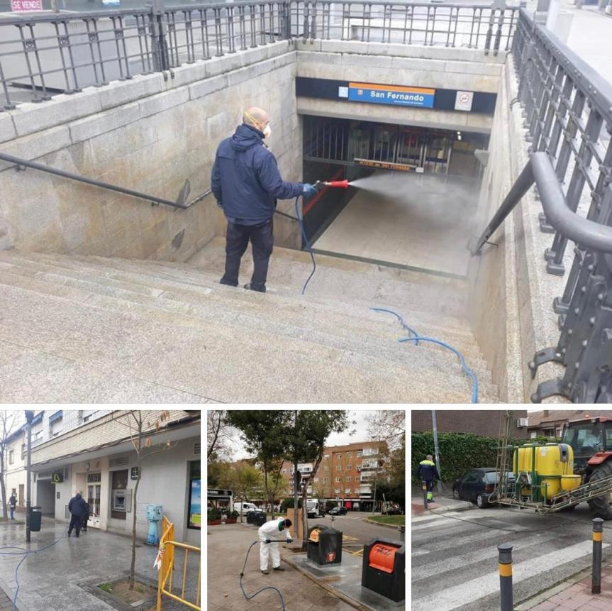 Limpieza y desinfección de espacios públicos y mobiliario urbano