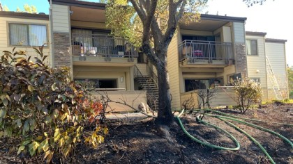 Apartment units damaged from a vegetation fire near James Donlan Blvd. and Tabora Drive in Antioch on July 21, 2021. (Contra Costa Fire Protection District / Twitter)