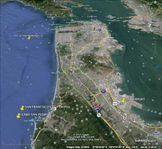 SF Bay Highways w/ Pedro Pt. Cabo San Pedro at left on ocean.