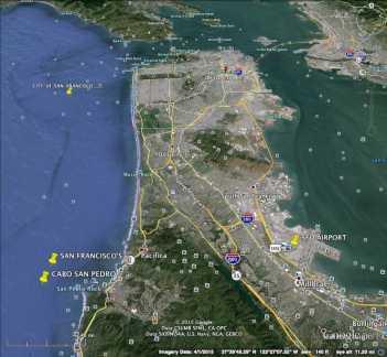 SF Bay Highways w/ Pedro Pt. Cabo San Pedro at left on ocean.