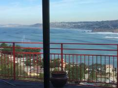 Photo taken from our windows. Those are 20' Giant Surfing Waves. SF is on left