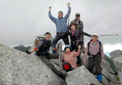 三ノ沢岳山頂にて。