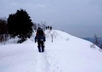 ⑨雪稜散歩。目の前のピークが虎子山。