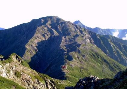 12 農鳥岳より間ノ岳・北岳を望む