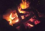 盛大な焚火で宴もたけなわ。