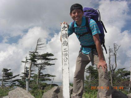 北横岳山頂 誰もいません 登りがきつかった