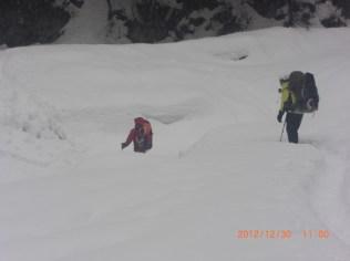 白出沢 雪崩が怖い