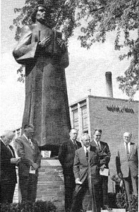 A statue of Martin Luther is dedicated on the Concordia campus on May 26, 1957.*