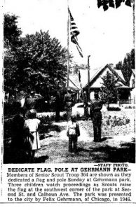 A 1949 ceremony at Gehrmann Park (Courtesy State Journal-Register)