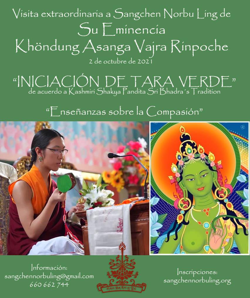 Visita de Su Eminencia Khöndung Asanga Rinpoche e iniciación de Tara Verde, 2 de octubre @ Centro de retiros Sangchen Norbu Ling