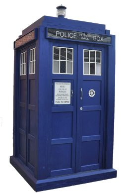 TARDIS - Time And Relative Dimensions In Space A blue 1950s police box used by Doctor Who to travel through space-time