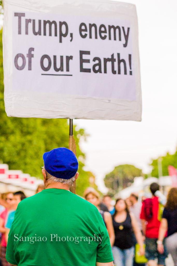 Trum manifestación contra ecología