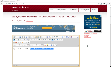 Online HTML Visual Editor