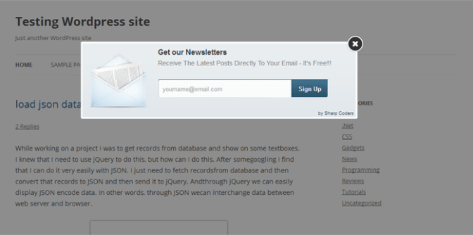Beautiful Lightweight Newsletter Subscription PopUp Form For WordPress