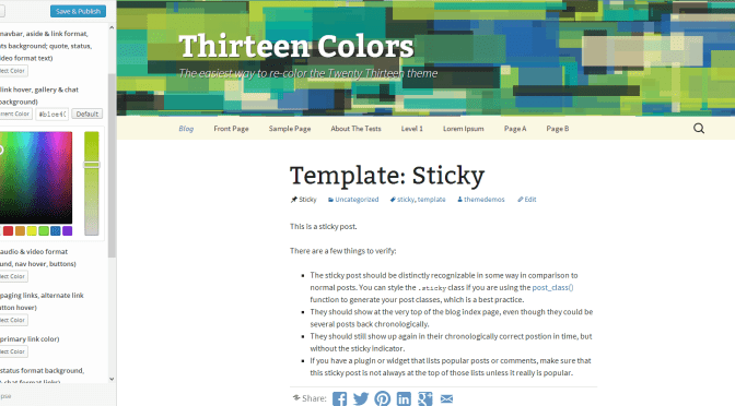 How To Customize Colors Of New Twenty Thirteen WordPress Theme ?