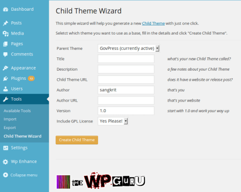 Child Theme Wizard for WordPress