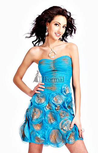 light blue short prom dress