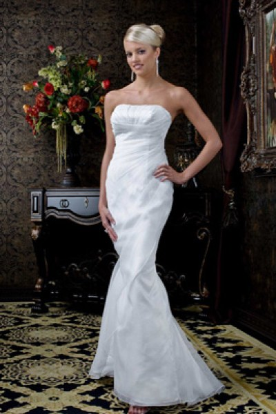 long chiffon strapless mermaid wedding dress