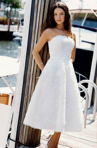 informal tea-length short beach wedding dresses