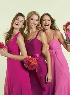 pink bridesmaids beach dresses