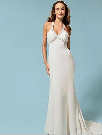 simple strapless halter wedding dress