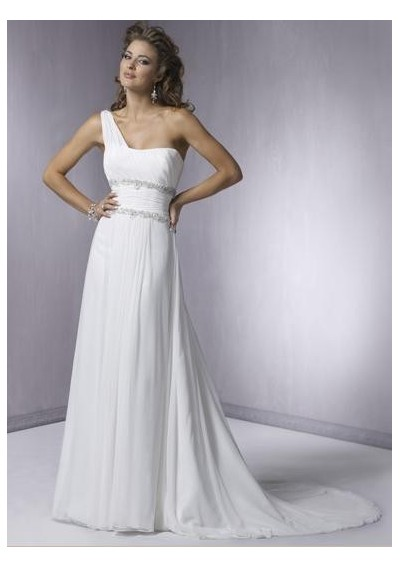 white strapless wedding dress with asymmetrical waistline