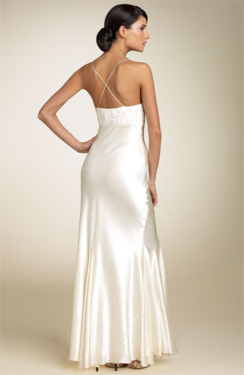 wedding dress with bias shape