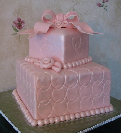 delightful pink bridal shower cake design