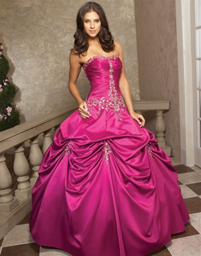 dark pink wedding dress