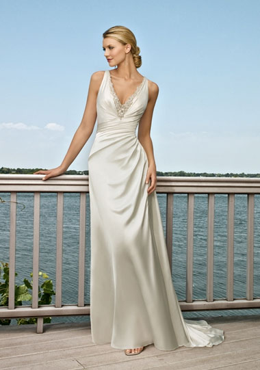 simple v-neck beach wedding dress