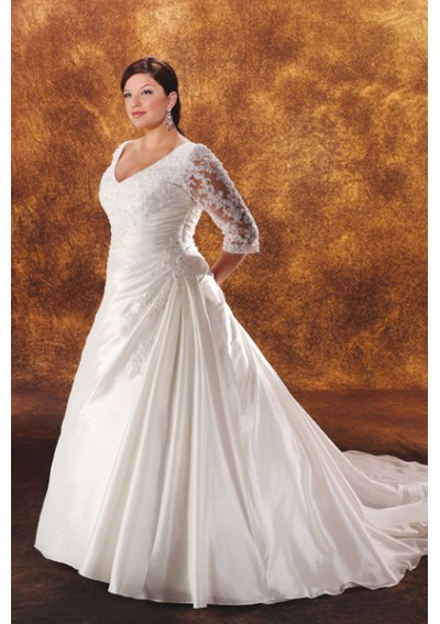 plus size wedding dress with sheer sleeves