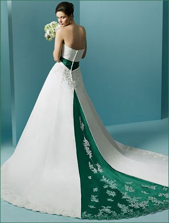 strapless colored wedding dresses
