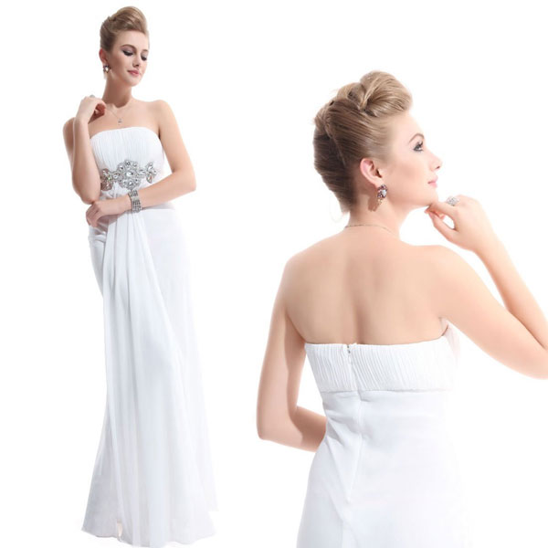 empire chiffon white bridesmaid dress