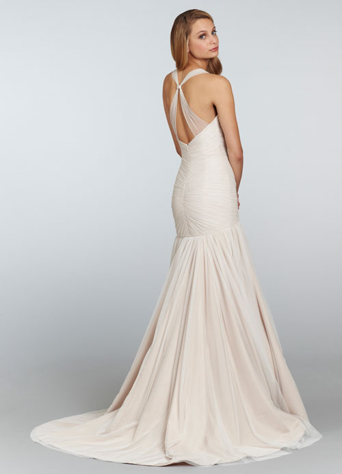 blush bridal gown with sheer straps 02
