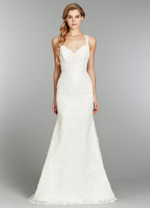 blush ivory slim lace bridal gown fall 2013 with chapel train