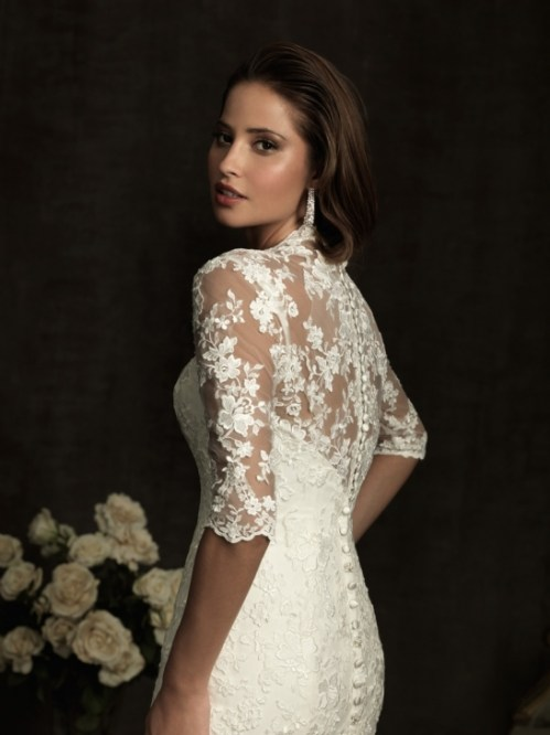 lace v-neck wedding dress with 3 per 4 sleeves