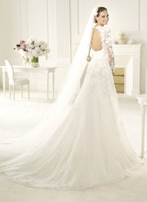 lace wedding dress with long sleeves and open back