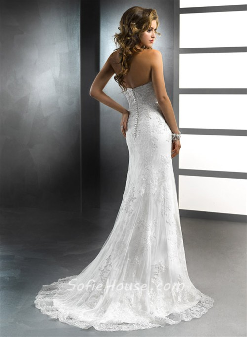 mermaid sweetheart vintage lace wedding dresses with detachable train