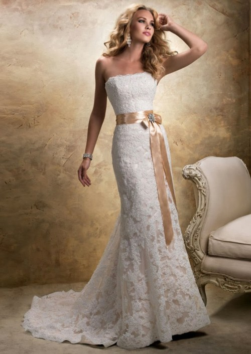 strapless lace wedding dress with sash