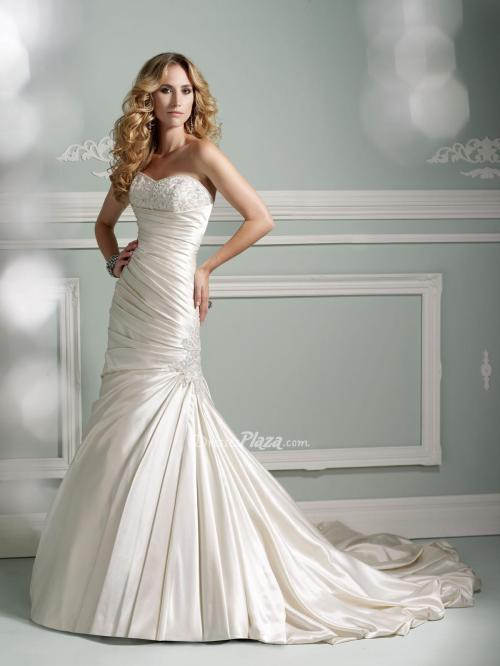 strapless mermaid wedding dress from satin