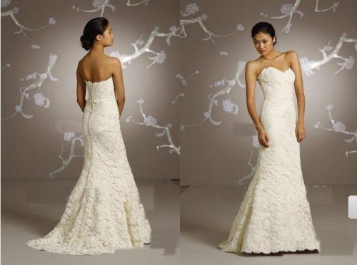 strapless vintage lace wedding dresses