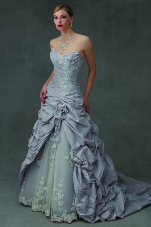 blue sweetheart neckline wedding dress with lace